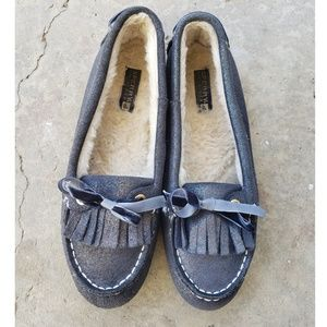 Sperry Topsider Blue Sparkle Moccasin Size 9